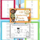 1-50 Handwriting Cards Write and Wipe Center Polka Dot The