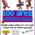 100 Ants Addition Game! (Great Center or Workstation!)