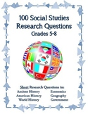 100 Social Studies Research Questions Elementary/Middle Grades