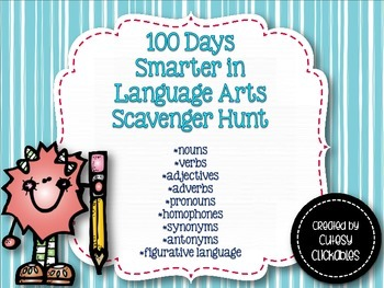 100 days Smarter in Language Arts Scavenger Hunt for Big Kids