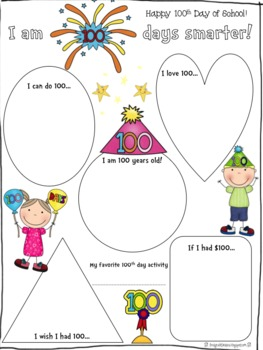 100th Day of School Poster (with bonus worksheets)
