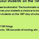 100th day of school bookmarks(coloringbook)