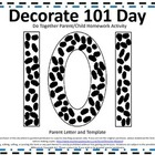 101 Days of School Do Together Parent/Child Homework Activity