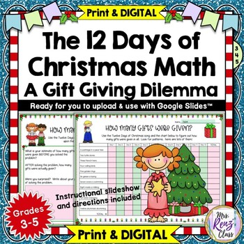 12 Days of Christmas Math Problem Solving: A Gift Giving Dilemma for Gr. 3-6