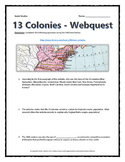 13 Colonies (American Colonies) - Webquest with Key (History.com)