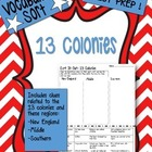 13 Colonies / Colonial Regions Vocabulary Word Sort