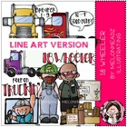 18 wheeler LINE ART bundle by melonheadz