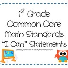 1st Grade Common Core Math Standards - I Can Statements (O