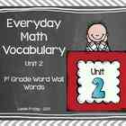 1st Grade Everyday Math Word Wall Words Unit 2 Vocabulary