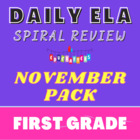1st Grade Language Arts Worksheet Pack (November) {Common