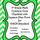 1st Grade Math Common Core Checklist - Lesson Planning For