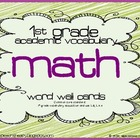 1st grade Core Academic Vocabulary Word Wall cards MATH set