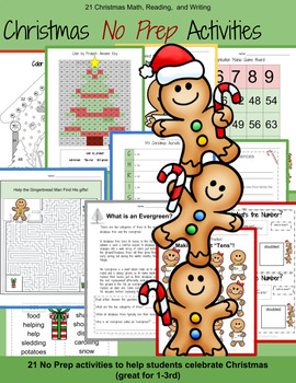 20 Christmas No Prep Math and Reading Activities-3rd Grade