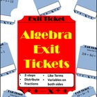 20 Exit Tickets - Solving Algebraic Equations