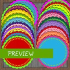 20 Scalloped Circle Badges in Bright Colors - banner bunting pennant frames
