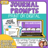 200 Question Cards for  Discussion and Writing Prompts