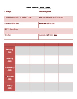 2013-2014 4th Grade Math Lesson Template with Texas TEKs.