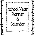 Polka Dot School Planner and Calendar (Blank Calendar Fill-in)