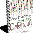 2014-2015 Designer Dots Themed Personal Planning Calendar on CD