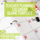2014-2015 Teacher Planning Calendar Template