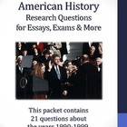 20th Century American History - 1990-1999 - 21 Research Questions