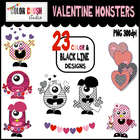 23 Valentine Clipart Monsters in Color and Black Line