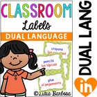 232 Classroom Labels in Green Polka Dots- Dual Language