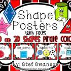 Shape Posters 2D and 3D {Pirate Colors} with Faces