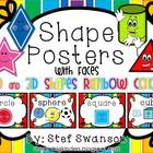 Shape Posters 2D and 3D {Rainbow Colors} with Faces