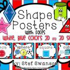 Shape Posters 2D and 3D {Red, White, Blue Colors} with Faces