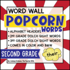 2nd Grade Popcorn Word-Wall Words {Editable!}