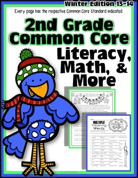 2nd Grade Winter Math & Literacy Packet {100% Aligned to Common Core}