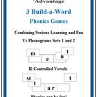 3 Build-a-Word Phonics Games-Vc & R-Controlled Phonograms