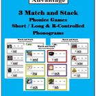 3 Match & Stack Phonics Games-Short/Long & R-Controlled Ph