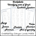 3 worksheets~Parts of Quadratic Graph~Domain~Range