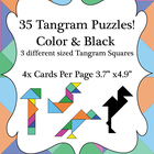 35 Different Tangram Puzzles - Black & Color