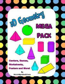 3D Geometry Activity Bundle - Worksheets, Posters and Activities