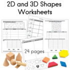 3D Shapes Worksheets for Kdg - 1st