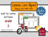 3rd Grade Common Core Aligned Playing Card Math Mats (Auto Theme)