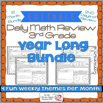3rd Grade Common Core Daily Math Review/Morning Work: Jan.-Dec. 12 Month Bundle