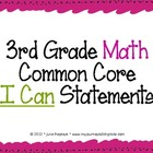 "3rd Grade Common Core ""I Can"" Statements for Mathematics"