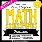 3rd Grade Common Core Math Assessment - Fractions (3 tests