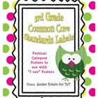 3rd Grade Common Core Standards Labels - Vertical