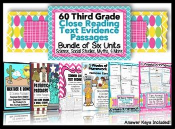 3rd Grade Common Core Text Evidence Passages for Homework, Assessments & More