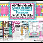 3rd Grade Common Core: Text Evidence Passages for Homework