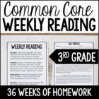 3rd Grade Common Core Weekly Reading Homework Review {Comp
