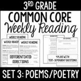 3rd Grade Common Core Weekly Reading Review {Set 3: Poems/Poetry}