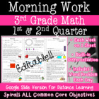3rd Grade Daily Math Morning Work 1st and 2nd quarter