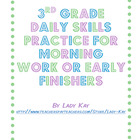 3rd Grade Daily Skills Practice for Morning Work or Early