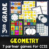 3rd Grade Geometry Math Partner Games: 7 CCSS games for 2D